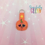 Pumpkin Sugarskull Heart Eyes Snap Keychain ITH Embroidery Design - 5x7 Hoop or Larger