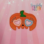 Pumpkin Sugarskull Heart Eyes Mask Embroidery Design - 5x7 Hoop or Larger