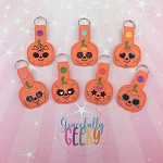 Pumpkin Sugarskull Snap Keychain SET of 7 ITH Embroidery Design 4x4 hoop (and larger)
