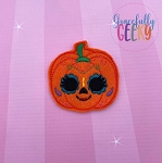 Pumpkin Sugarskull Scallop Eyes Feltie ITH Embroidery Design 4x4 hoop (and larger)