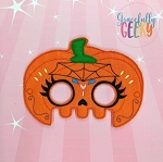 Pumpkin Sugarskull Spiderweb Mask Embroidery Design - 5x7 Hoop or Larger