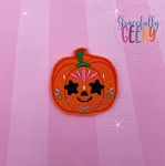Pumpkin Sugarskull Star Eyes Feltie ITH Embroidery Design 4x4 hoop (and larger)