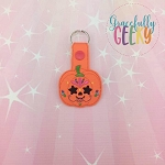 Pumpkin Sugarskull Star Eyes Snap Keychain ITH Embroidery Design - 5x7 Hoop or Larger