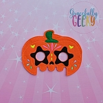Pumpkin Sugarskull Star Eyes Mask Embroidery Design - 5x7 Hoop or Larger