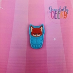 Fox Sleeping Bag Feltie ITH Embroidery Design 4x4 hoop (and larger)