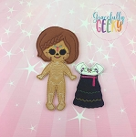 Sugarskull Girl Side Braid Dress up Doll and accessories - Embroidery Design 5x7 hoop or larger