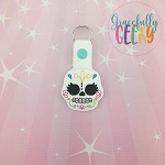 Sugarskull Eyelash Snap Keychain ITH Embroidery Design - 5x7 Hoop or Larger