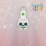 Sugarskull Flower Eyelash Snap Keychain ITH Embroidery Design - 5x7 Hoop or Larger