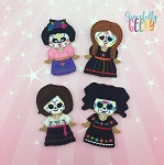 Dia de los Muertos finger puppet girl set - Embroidery Design