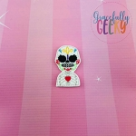 Sugarskull Mid Heart Feltie ITH Embroidery Design 4x4 hoop (and larger)