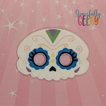 Sugarskull Scallop Eyes Mask Embroidery Design - 5x7 Hoop or Larger