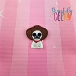 Sugarskull Sombrero Feltie ITH Embroidery Design 4x4 hoop (and larger)