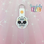 Sugarskull Spiderweb Snap Keychain ITH Embroidery Design - 5x7 Hoop or Larger