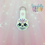 Sugarskull Star Eyes Snap Keychain ITH Embroidery Design - 5x7 Hoop or Larger