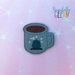 Pine Tree Mug Feltie ITH Embroidery Design 4x4 hoop (and larger)