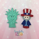 USA finger puppet set - Embroidery Design