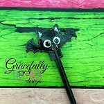 Bat Pencil Topper ITH Embroidery Design 4x4 hoop (and larger)