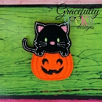 Cat on Pumpkin Feltie ITH Embroidery Design 4x4 hoop (and larger)