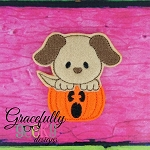 Dog in Pumpkin Feltie ITH Embroidery Design 4x4 hoop (and larger)