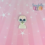 Sugarskull Flower Eyelashes Feltie ITH Embroidery Design 4x4 hoop (and larger)