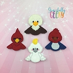 Birds 2 finger puppet set - Embroidery Design