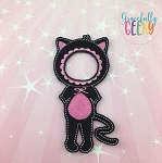 Girl Black Cat Costume Dress Up Outfit ONLY - Embroidery Design 5x7 hoop or larger