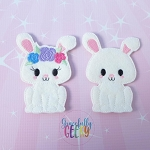 Bunny Couple finger puppet set - Embroidery Design