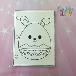 Bunny Easter Egg quiet book coloring page ITH embroidery design 5x7 hoop