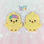 Chick Couple finger puppet set - Embroidery Design
