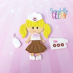 Donut Girl Dress up Doll and accessories - Embroidery Design 5x7 hoop or larger