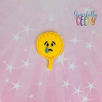 Crying Emoji Balloon  Feltie ITH Embroidery Design 4x4 hoop (and larger)