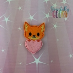 Fox Heart Feltie ITH Embroidery Design 4x4 hoop (and larger)