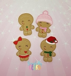 Gingerbread Family  finger puppet and accessories - Embroidery Design