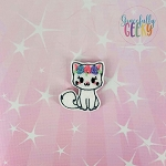 Girly Floral Cat Feltie ITH Embroidery Design 4x4 hoop (and larger)