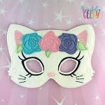 Girly Floral Cat Mask  Embroidery Design - 5x7 Hoop or Larger