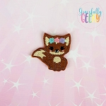 Girly Floral  Fox Feltie ITH Embroidery Design 4x4 hoop (and larger)