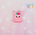 Girly Floral Pig Feltie ITH Embroidery Design 4x4 hoop (and larger)