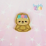 Girly Floral Sloth Feltie ITH Embroidery Design 4x4 hoop (and larger)