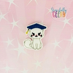 Graduation Cat Feltie ITH Embroidery Design 4x4 hoop (and larger)