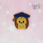 Graduation Hedgehog Feltie ITH Embroidery Design 4x4 hoop (and larger)