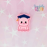 Graduation Pig Feltie ITH Embroidery Design 4x4 hoop (and larger)
