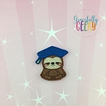 Graduation Sloth Feltie ITH Embroidery Design 4x4 hoop (and larger)