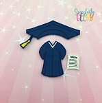 Girl Graduation Dress Up Outfit and diploma ONLY - Embroidery Design 5x7 hoop or larger