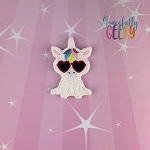 Heart Glasses Unicorn Feltie ITH Embroidery Design 4x4 hoop (and larger)