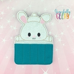 Kawaii Bunny Crayon Holder Embroidery Design - 5x7 Hoop or Larger