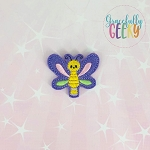 Kawaii dragonfly  Feltie ITH Embroidery Design 4x4 hoop (and larger)
