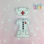 Girl Nurse 2 Dress Up Outfit ONLY - Embroidery Design 5x7 hoop or larger