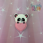 Panda Heart Feltie ITH Embroidery Design 4x4 hoop (and larger)