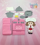 Rebecca Doll and Kitchen Play Set and accessories - Embroidery Design 5x7 hoop or larger