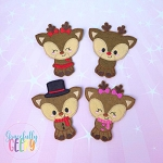 Reindeer Family  finger puppet and accessories - Embroidery Design